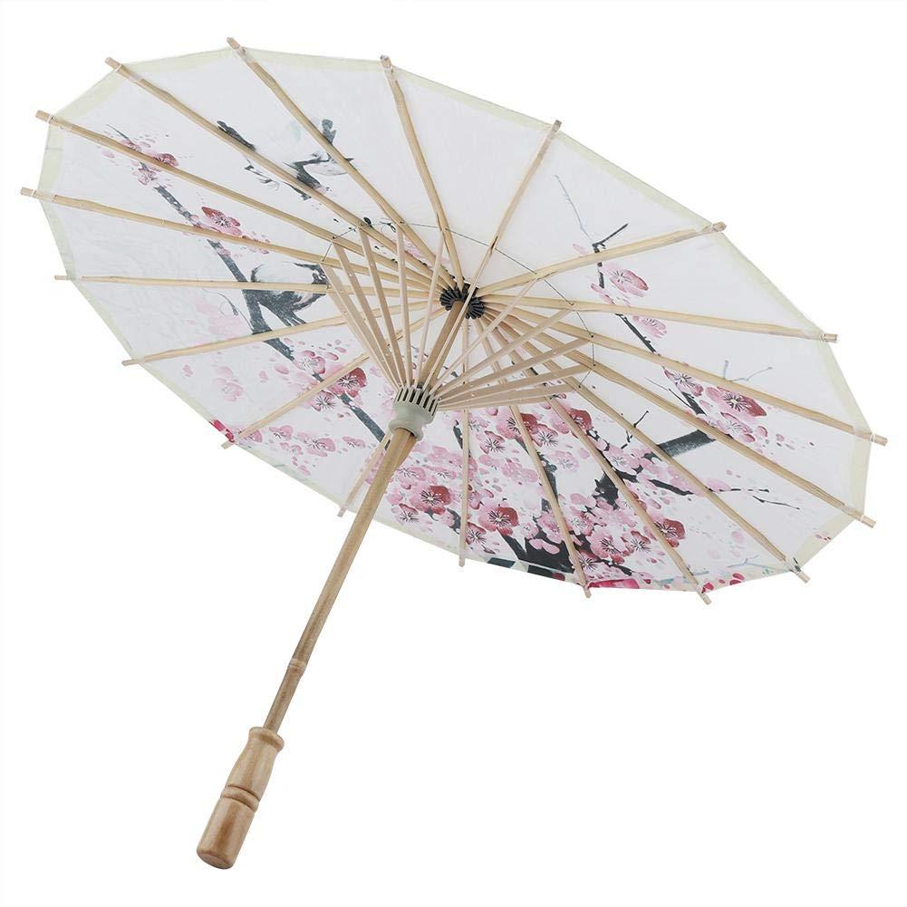Paraguas Hecho a Mano Papel De Aceite Pintura Cl/ásica Plum Blossoms Dancing Props Parasol a Prueba De Lluvia Retr/áctil con Mango De Madera